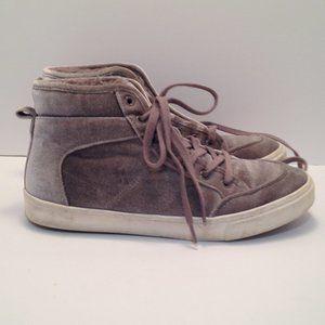 OLd Navy 7.5/8 Grey Velvet High Top Sneakers